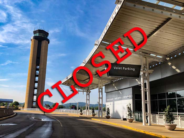 Valet Parking and Economy Parking is closed at the airport